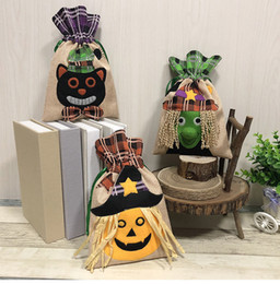 pumpkin accessories 2019 - Halloween Supplies Tote Bag Children's Festival Candy Bag Witch Pumpkin Drawstring Bag Party Party Performance Acce