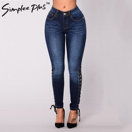 $enCountryForm.capitalKeyWord NZ - Simplee Plus Skinny bandage Leg Slim Stretch Jeans Blue Mid Waist Zipper Fly Plain Denim Jeans Women Casual Trousers Plus size