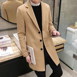 2018 Nuevo Abrigo de Lana de Invierno Hombres Ocio Secciones Largas Abrigos de lana Chaquetas de Moda Casual de Color Puro de Hombre / Abrigo de Hombre Ocasional en venta