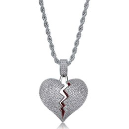 $enCountryForm.capitalKeyWord Australia - Hip Hop Solid Broken Heart Iced Out Pendant Necklace Charm For Men Women Gold Color Cubic Zircon Jewelry KKA2118