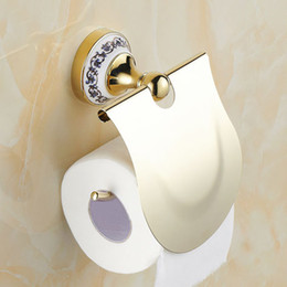 Paper Roll Holders Australia - Paper Holders with Ceramic Base Gold Chrome Finish Paper Holder Tissue Roll Holder Wall Mounted Brass Construction Bathroom Accessories