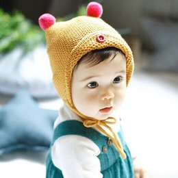 $enCountryForm.capitalKeyWord NZ - Infant Baby Kids Hat Autumn Winter Beanies Caps Ball Beanie Knitted Hat Lace Up Babies Children Warm Casual Cap Hats M170