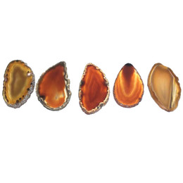 $enCountryForm.capitalKeyWord NZ - DIY 5PCS Reiki Healing Natural Stone Orange Small Agate Slice Pendant Raw Quartz Stone Connector Beaded Pendants for decoration