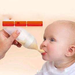 Cute Cute Baby Rice Paste Mangiando Training Silicone con Cucchiaio Bottiglia Infant's Complementary Food Squeeze Bottle Bottiglie di succo di latte 90ml in Offerta