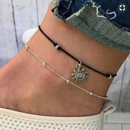 Wholesale NEW Fashion Europe And America Bohemian Double Layer Ancient Silver Sun Pendant Anklet Vintage Beads Bracelet