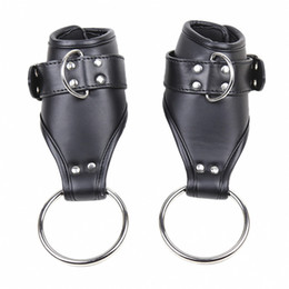 swing restraint NZ - Fetish Bdsm Bondage Restraint Door Swing Hange PU Leather Handcuffs Hanging Hand Wrist Cuff Adults Sex Toys For Couples
