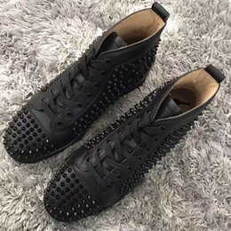 best canvas shoes for women 2019 - Best Gift -- Fashion Red Bottom Sneakers With White Black Spikes & Leather For Men & Women Skateboarding Party Designer