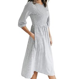 Female Dresses NZ - Autumn Striped Long Sleeve Women Midi Dress Causal O-Neck Striped Printed A-Line Female Pockets Dresses Party Plus Size M0143