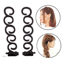 Discount braiding hair weave styles - 2pcs Hair Styling Tools Weave Braid Hair Braider Tool Styling Magic Twist Bun Maker Roller Accessories Random Color