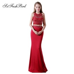 $enCountryForm.capitalKeyWord NZ - Elegant Girls Dress O Neck With Beading Open Back Crop Top Mermaid Long Satin Party Formal Evening Dresses for Women Prom Dress Gowns