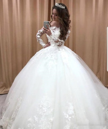 Gold White Puffy Wedding Dress NZ - Romantic White Ball Gown Wedding Dresses 2019 Flowers Appliques Long Sleeves Off-the-shoulder Garden Bridal Gowns Puffy Robe de mariee