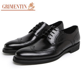 Male Shoes For Sale NZ - GRIMENTIN Hot sale Italian fashion men oxford shoes brand genuine leather black brown casual mens dress shoe for formal business male shoes