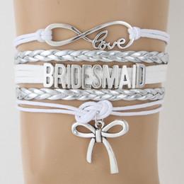 Love Bow Bracelet NZ - NCRHGL 2018 Wedding Infinity love BRIDESMAID bracelets bangles Bow charm Braided bracelet Nicely Jewelry For Women Drop Shipping