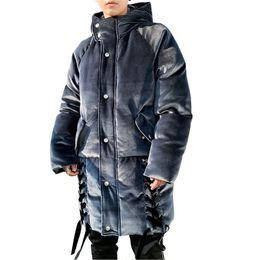 c3acd2cab5a88 Franela Chaqueta de abrigo Hombre Casual Flojo largo Espesar Abrigo 2018 Nueva  chaqueta de invierno de los hombres de moda de la calle Hip Hop con capucha  ...