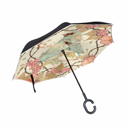 Green Umbrellas Canada - Beautiful Girl Bird Flower Art Double Layer Inversted Umbrella Windproof Car Reverse Umbrella Self Stand Rain Protection C-hook