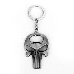 $enCountryForm.capitalKeyWord NZ - Silvery Alloy children Punisher logo two uses Dual purpose Opener KeyChain Punisher skull skeleton KeyChain Punisher Key Chain Ring 2018 y89