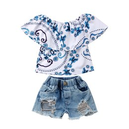 400f6cffd3f1 Princess Kids Clothes Set 2018 Fashion Baby Girl Ruffles Off-shoulder Tops T -shirt+Broken Hole Denim Shorts Children s Outfits
