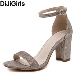China DiJiGirls 2017 new women summer square thick high heel wedding dress shoes woman ankle strap sequined black silver pumps sandals cheap leather silver wedding sandals suppliers