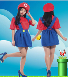 super women halloween costumes 2019 - women adult super mario dress Funny Cosplay Halloween Costumes Super Mario Luigi Brothers Fancy Dress Up Party Costume K