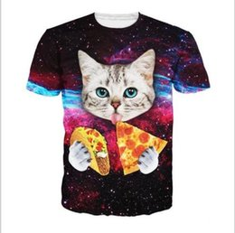 Chinese  Brand designer - tshirt Pizza Cat print t-shirt for men 3d tshirt short sleeve o-neck animals casual Hip Hop galaxy t shirt manufacturers