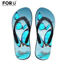 slippers for hotels UK - FORUDESIGNS Flip Flops Woman 2018 Fashion 3D Animal Butterfly Prints Women Flats Beach Slippers Summer Flipflops for Lady Girls