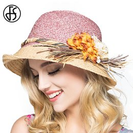 7647126f1f1 FS Women Summer Raffia Straw Hats 2017 Wide Brim Sun Hat Elegant Flower Cap  Casual Beach Chapeau Feminino Boater Sombrero