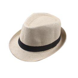cee944613adfe 2018 hot Vogue Men Women Cotton Linen Straw Hats Soft Fedora Panama Hats  Outdoor Stingy Brim Caps