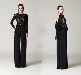 big bow sexy back dress Australia - Two Pieces Black Lace Top Formal Pant Suits With Big Bow Long Sleeves Arabic Evening Gowns Custom Made Prom Party Dresses HY4209