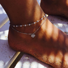 $enCountryForm.capitalKeyWord NZ - Foot Anklets Chains Cute peach heart love pendant double-layer Boho anklet Women Bohemian holiday Sand Barefoot Sandals Foot Jewelry gift