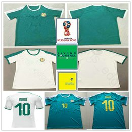 66df54598 2018 World Cup Senegal Soccer Jerseys 10 MANE COULIBALY NIANG KOUYATE GUEYE  Blank Custom Home White Away Green Football Jersey Shirt Uniform