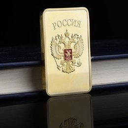 Russia Coin UK - 50pcs lot ,Russia Gold Plated USSR Bullion Soviet Souvenir CCCP Gold Bars Coins Collectibles Coin Of Russia Medal Home Decoration