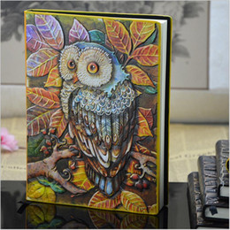 European Stationery NZ - 2017 New European Vintage Thick notebook Diary Book Handmade leather carving owl Stationery Office Material School 01663