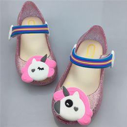 a2b8f3b6dc7ff Unicorn kids girls sandals Shoes Jelly LED night light glitter powder Shoes  slippers little horse Sandal slides toddler bay Non-slip sale