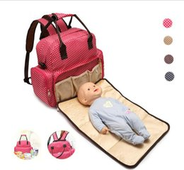 Diaper bags polka Dots online shopping - 6 Colors Multi function Baby Can Lie In Polka Dot Diapers Bag for babies Large Mommy Bag Backpacks diapers nappies Outdoor Travel Stackers