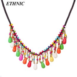 $enCountryForm.capitalKeyWord Australia - Fashion Stone Water Drop Charm Chokers Necklace for Women Bohemian Fashion Necklace Gold-color Beaded Chain On Neck