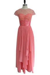 Chinese  New Arrival Cap Sleeve Prom Dress Simple Style Rhinestones Above Lace Long Chiffon Woman Dress for Prom Night manufacturers