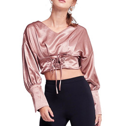 3ead37d5933d5 2018 Spring New Imitated Silk Satin Fabric Fashion V-neck Waist Fold  Elastic Slim Buttons Long Sleeves Sexy Women Short Blouse
