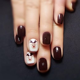 $enCountryForm.capitalKeyWord Australia - Yunail 24 pcs Oval Fake Nails Short Elk Nail Design Tips with Solid Coffee White in acrylic box unhas for Christmas Gifts Y18101101