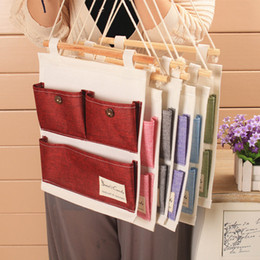 Fabric Compress Canada - Cotton Tower Storage Bag 3 pocket wall hanging bags multi-layer fabric debris storage organizer pastoral F20173415