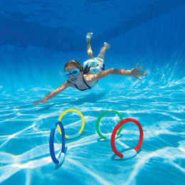 $enCountryForm.capitalKeyWord NZ - New Arrival 4 Pcs Set Child Kids Diving Ring Water Toys Underwater Swimming Pool Accessories Diving Buoys Four Loaded Throwing Toys