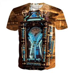 Discount magic clock - Wholesale-Short Sleeve T-Shirt Men Marcas Brand Cloth Print Tee Steampunk Rave Retro Magic Clock Camisetas Hombre T Shir
