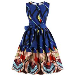 Chinese  Arab Country Women Vintage Dress Dark Blue A-line Print O-neck Summer Sleeveless Plus Size dresseswith Belt DK3073MX manufacturers