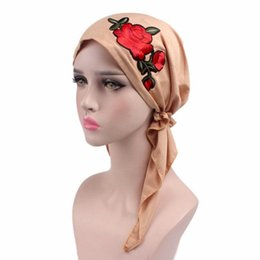 12bfc9d6071 Plain White Head Scarves UK - new fashion Rose embroidery stretchy Pre-Tied  head Scarf