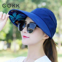 COKK Summer Hats For Women Folding Foldable Uv Protection Sun Hat Visor  Suncreen Floppy Cap Chapeau Femme Outdoor Beach Hat New 85ea48f29909