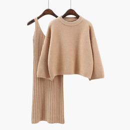 Office dress suits online shopping - Two piece set Women knitted crop sweater and slim dress suits Autumn loose hoodies knitwear pullover Elegant office suit