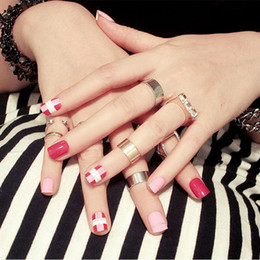 24pcs Set Pink Short French False Nails Round Head Nail Art Tips Full Finished With Glue Girl Cover Finger Fake