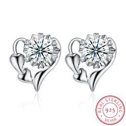 Sh Fashion UK - 925 silver earrings Diamond Heart stud earrings for women fashion Jewelry hot new arrival items for ladiys SH-E0045