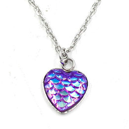 Fish Resin Pendant NZ - 12 Colors Silver Plated Heart Style Fish Dragon Scale Bling Mermaidh Pendant Necklace