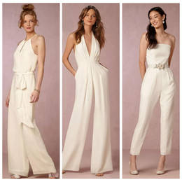 Summer beach wedding dreSSeS for gueStS online shopping - New Ivory Jumpsuit Bridesmaid Dresses for Wedding Sheath Backless Wedding Guest Gowns Plus Size Pant Suit Beach Honor Of Maid Cheap