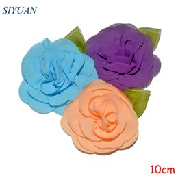Chiffon Flower Hair Clips Wholesale Australia - 30pcs lot 10cm Chiffon Flower with Green Leaf Girl Fashion Flower Hair Clip Chic Headwear Accessories TH255